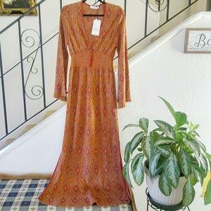 NWT ZARA KNIT Jacquard Metallic Maxi Dress Size L.
